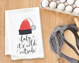 Baby It's Cold Outside Hat Tea Towel