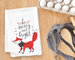 Be Merry and Bright Fox Tea Towel