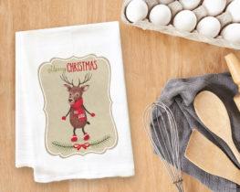 Christmas Reindeer Tea Towel