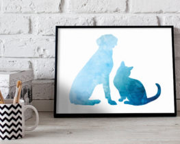 dogcatwatercolorprint