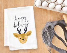 Happy Holidays Reindeer Tea Towel