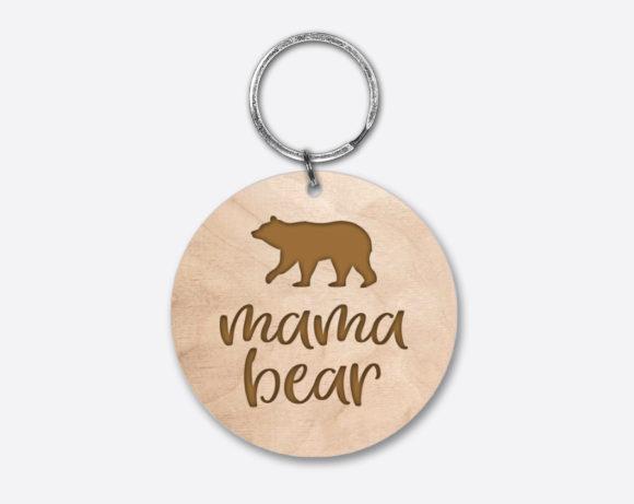 mamabear-circlewoodenkeychain