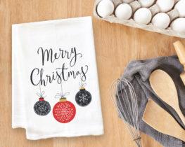 Merry Christmas Ornaments Tea Towel
