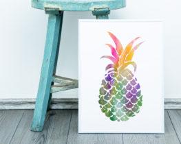 pineapplewatercolorprint