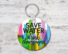 savewaterdrinkchampagnekeychain