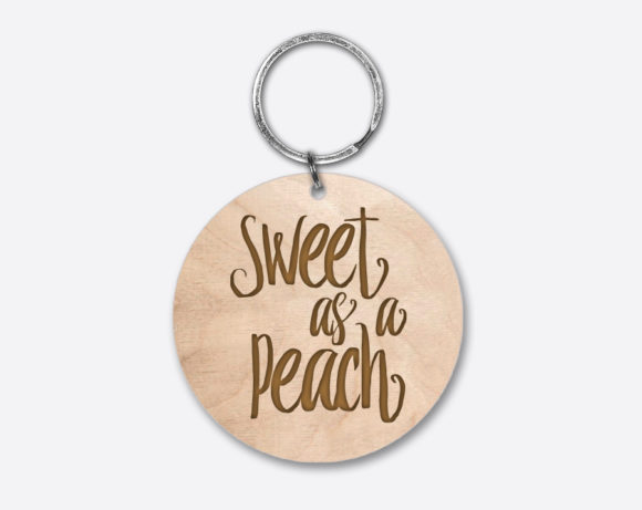 sweetasapeach-circlewoodenkeychain