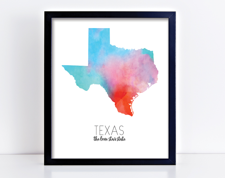 Texas Watercolor Print Quotable Life