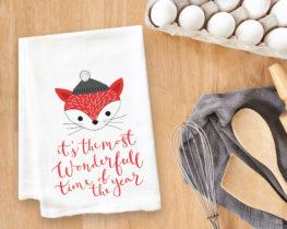 Wonderful Time Of Year Fox Tea Towel